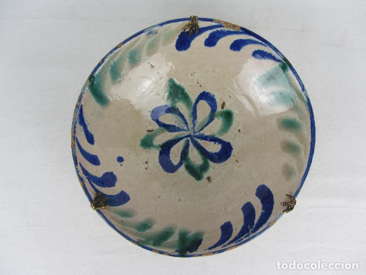 CUENCO DE FAJALAUZA DEL SIGLO XIX, EN AZUL Y VERDE (Antigüedades - Porcelanas y Cerámicas - Fajalauza)