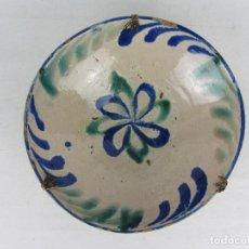 Antigüedades: CUENCO DE FAJALAUZA DEL SIGLO XIX, EN AZUL Y VERDE. Lote 277083793