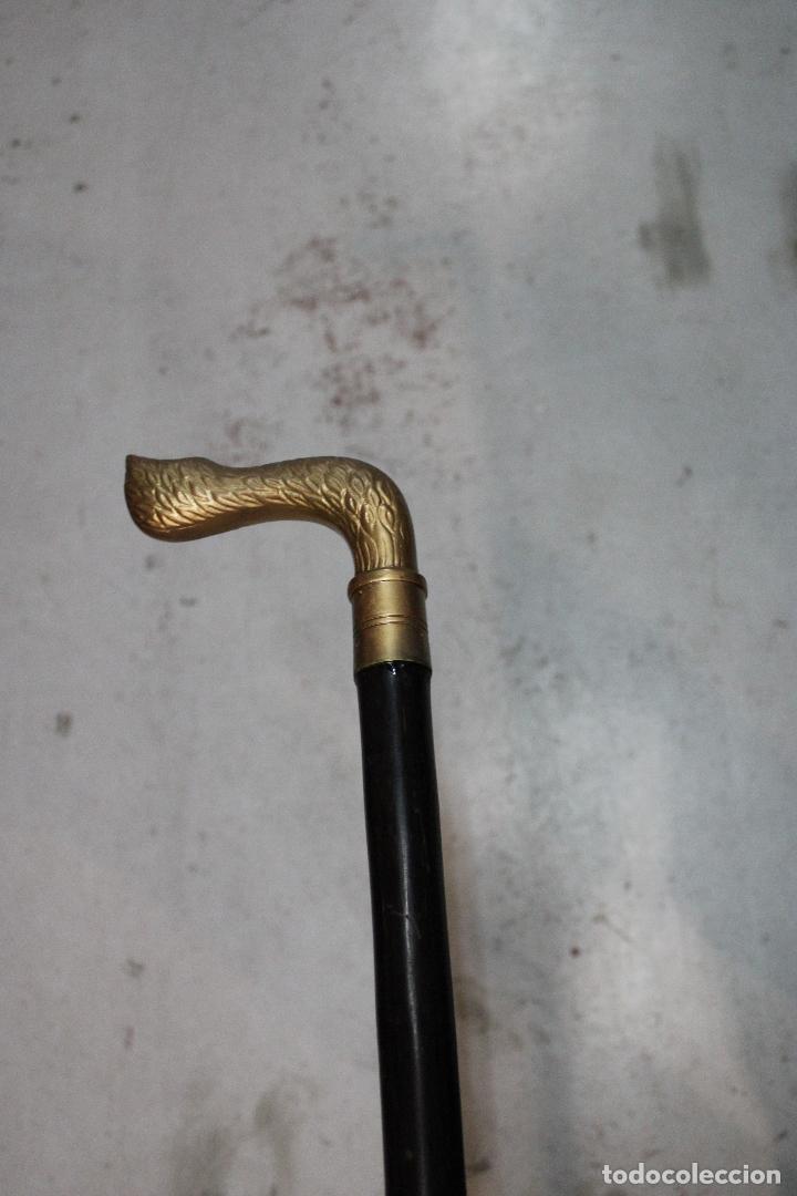 Antigüedades: baston de madera con empuñadura pata de ciervo de metal - Foto 2 - 277109033