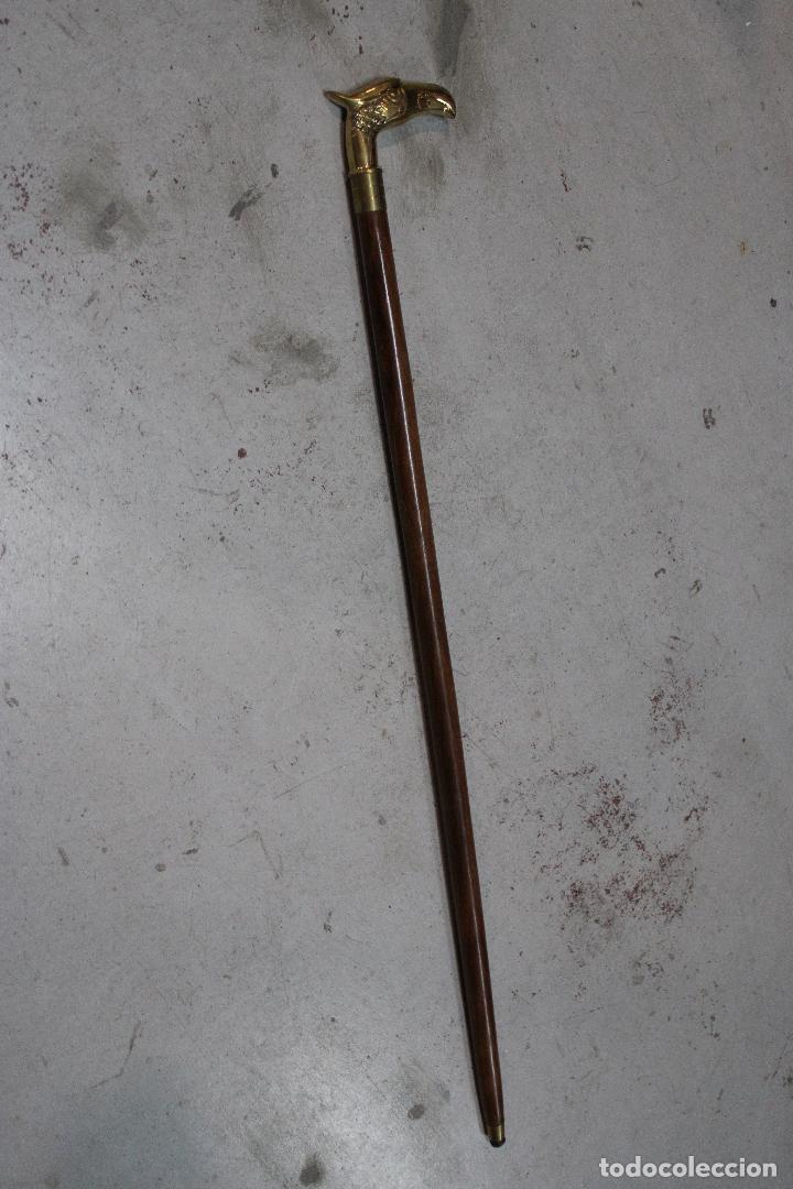Antigüedades: baston de madera con empuñadura aguila de metal - Foto 4 - 277109543