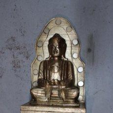 Antigüedades: FIGURA BUDA DE MADERA. Lote 277110638