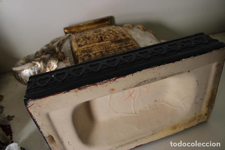 Antigüedades: macetero pedestal elefante ceramica - Foto 5 - 277111788