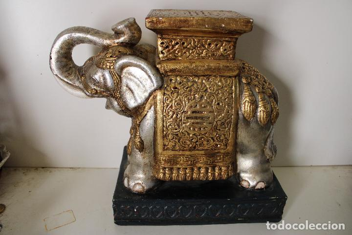 Antigüedades: macetero pedestal elefante ceramica - Foto 6 - 277111788