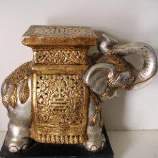 Antigüedades: MACETERO PEDESTAL ELEFANTE CERAMICA. Lote 277111788