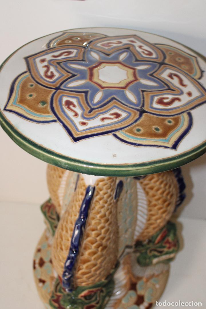Antigüedades: macetero pedestal peces ceramica - Foto 2 - 277113238