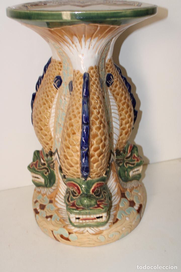 Antigüedades: macetero pedestal peces ceramica - Foto 3 - 277113238