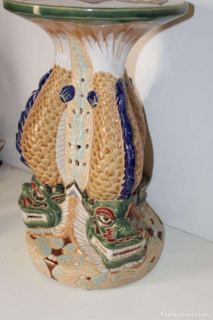 Antigüedades: macetero pedestal peces ceramica - Foto 4 - 277113238