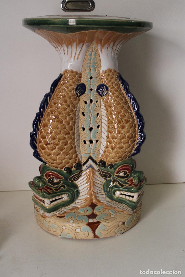 Antigüedades: macetero pedestal peces ceramica - Foto 5 - 277113238