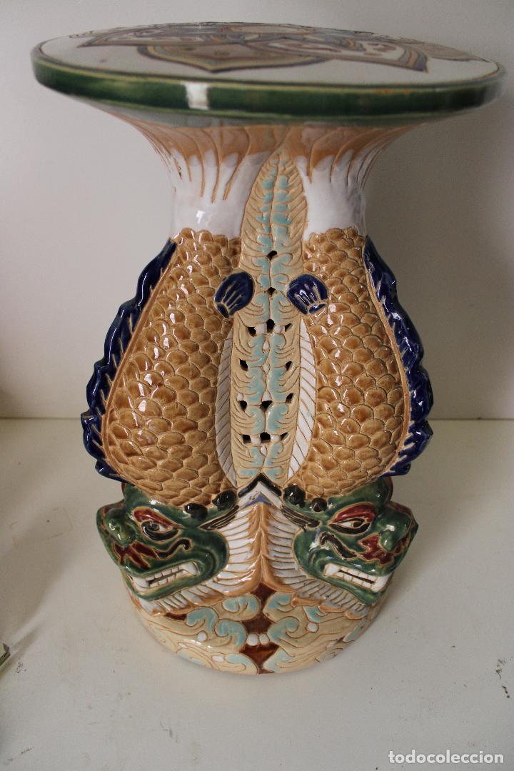 Antigüedades: macetero pedestal peces ceramica - Foto 6 - 277113238