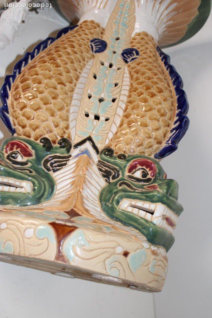 Antigüedades: macetero pedestal peces ceramica - Foto 7 - 277113238