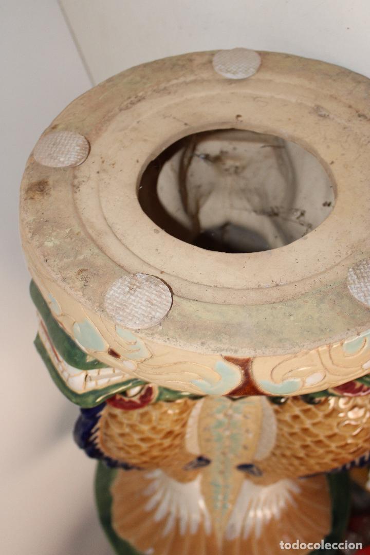 Antigüedades: macetero pedestal peces ceramica - Foto 8 - 277113238