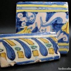 Antiquités: PAREJA DE AZULEJOS TRIANA - TALAVERA SIGLO XVII-XVIII. Lote 277119683