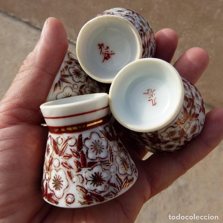Antigüedades: 4 copitas, chupitos o vasitos para sake, sellados, porcelana china - Foto 3 - 277136588