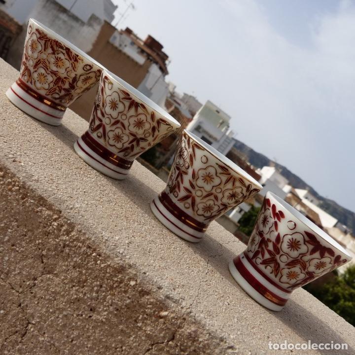 Antigüedades: 4 copitas, chupitos o vasitos para sake, sellados, porcelana china - Foto 4 - 277136588