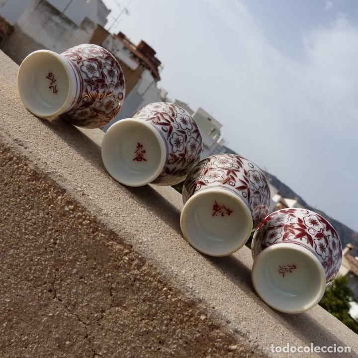 Antigüedades: 4 copitas, chupitos o vasitos para sake, sellados, porcelana china - Foto 5 - 277136588