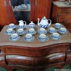 Antigüedades: PRECIOSO JUEGO DE TE / CAFE SARGADELOS PLANTA DO CASTRO COMPLETO DE 12 SERVICIOS AÑOS 80. Lote 277140403