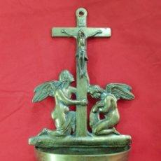 Antigüedades: ANTIGUA BENDITERA EN BRONCE . 31 × 16 CM. Lote 277152853