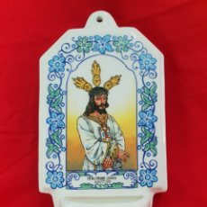 Antigüedades: BENDITERA PORCELANA . NUESTRO PADRE JESUS CAUTIVO . 31 × 17 CM. Lote 277154358