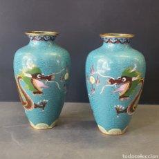 Antigüedades: CLOISSONE (CHINO) PAREJA DE JARRONES. Lote 277155123