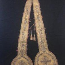 Antigüedades: ESPECTACULAR ESTOLA BORDADA EN ORO SIGLO XIX. Lote 277158383