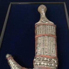 Antigüedades: ANTIGUA DAGA ÁRABE YEMENÍ ISLÁMICA KHANJAR JAMBIYA SIGLO XIX. Lote 277185558