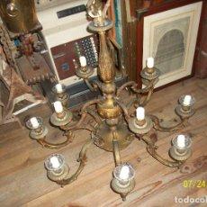 Antigüedades: ANTIGUA LAMPARA DE BRONCE, DE 12 BRAZOS. Lote 277190173