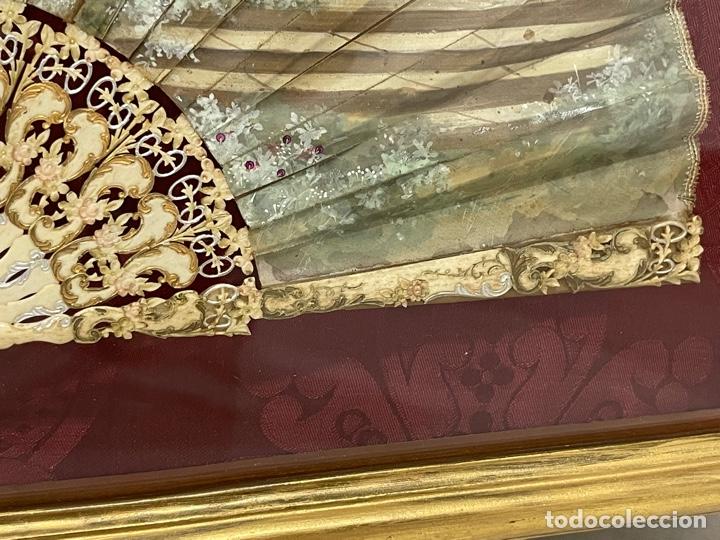 Antigüedades: ANTIGUO ABANICO ISABELINO HUESO CALADO SIGLO XIX - Foto 6 - 277198413