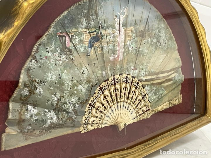 Antigüedades: ANTIGUO ABANICO ISABELINO HUESO CALADO SIGLO XIX - Foto 16 - 277198413