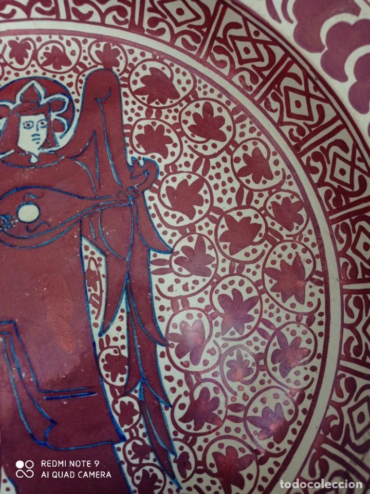 Antigüedades: Manises, soberbio plato hondo de reflejos Siglo XIX, 43 cm diámetro - Foto 4 - 277232923