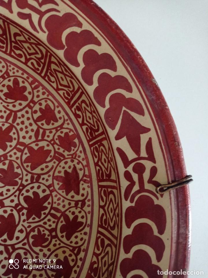 Antigüedades: Manises, soberbio plato hondo de reflejos Siglo XIX, 43 cm diámetro - Foto 5 - 277232923