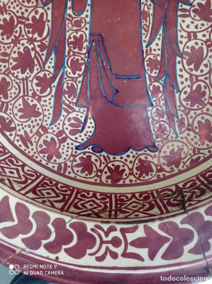 Antigüedades: Manises, soberbio plato hondo de reflejos Siglo XIX, 43 cm diámetro - Foto 6 - 277232923