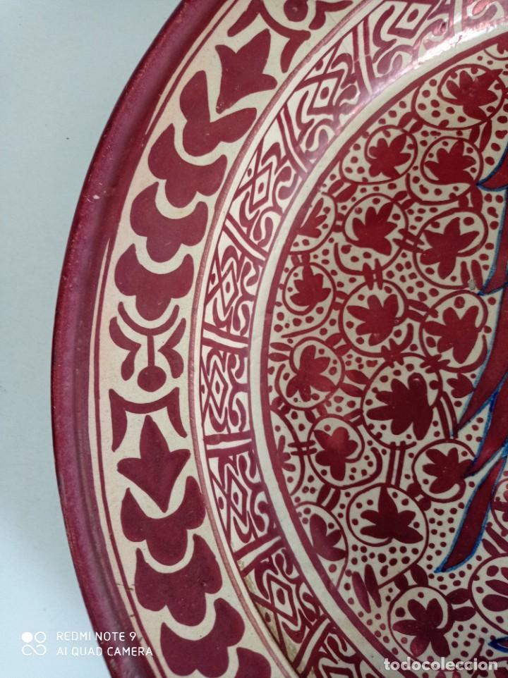 Antigüedades: Manises, soberbio plato hondo de reflejos Siglo XIX, 43 cm diámetro - Foto 7 - 277232923