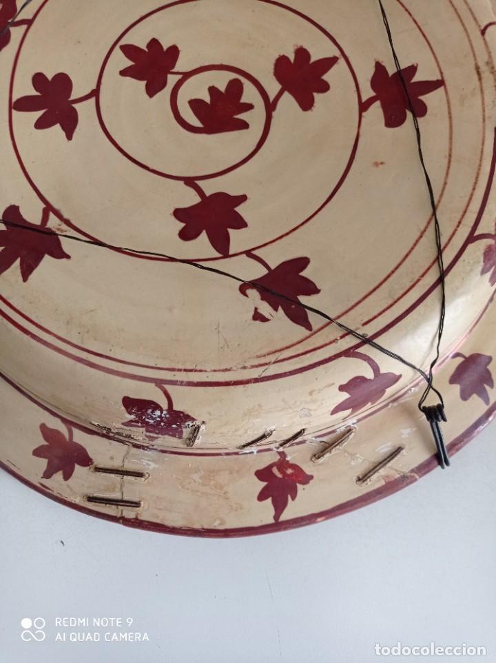 Antigüedades: Manises, soberbio plato hondo de reflejos Siglo XIX, 43 cm diámetro - Foto 10 - 277232923