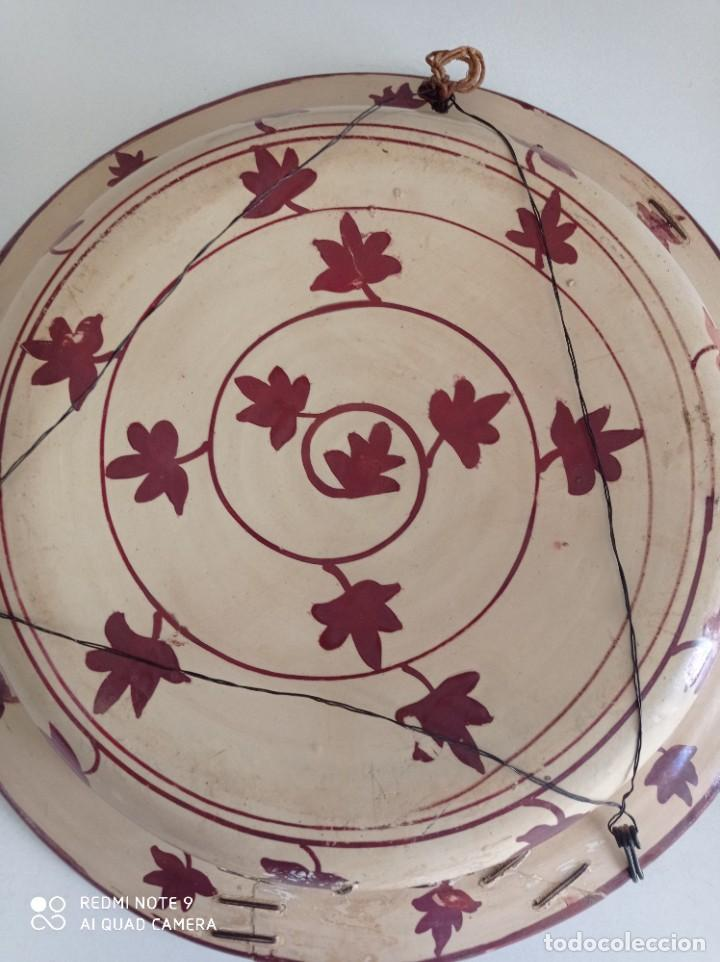 Antigüedades: Manises, soberbio plato hondo de reflejos Siglo XIX, 43 cm diámetro - Foto 11 - 277232923