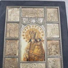 Antigüedades: VIRGEN DE LOS DESAMPARADOS RODEADA DE PLACAS DE ALPACA ESCENAS FAMILIARES DE LA VIRGEN. Lote 277259553