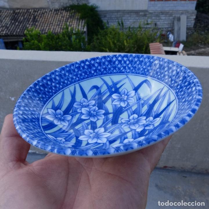 PEQUEÑO BOL O CUENCO DE PORCELANA CHINA EN TONOS AZULES Y VERDE CLARO, (Antigüedades - Porcelanas y Cerámicas - China)