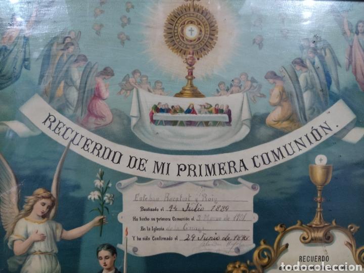 Antigüedades: Recuerdo de la primera comunión 1.901 - Foto 2 - 277297538