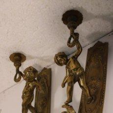 Antigüedades: APLIQUES DE BRONCE CON ANGELES. Lote 277421313