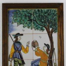 Antigüedades: MOSAICO DE 6 AZULEJOS PINTADOS A MANO CON ESCENA DE CAZADORES. MEDIADOS SIGLO XX. Lote 277430793