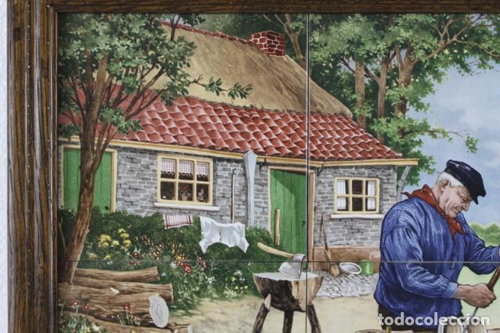 Antigüedades: Mosaico de 6 azulejos por J.C. Van Hunnik. Representado taller de zapatero - Foto 5 - 277431973