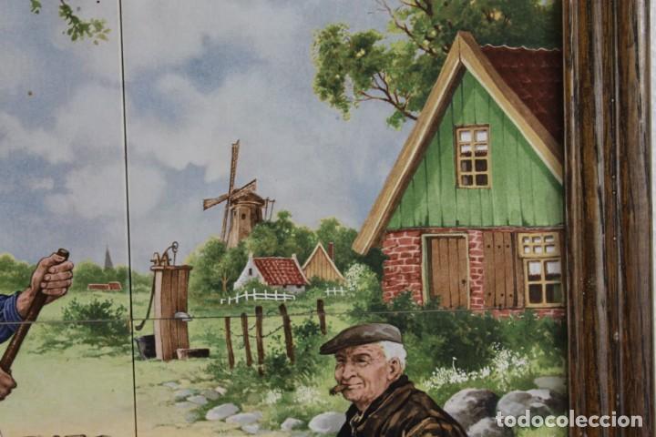 Antigüedades: Mosaico de 6 azulejos por J.C. Van Hunnik. Representado taller de zapatero - Foto 6 - 277431973