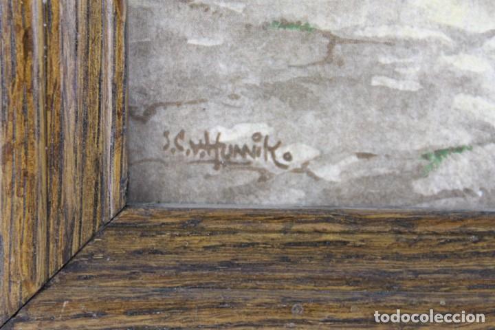 Antigüedades: Mosaico de 6 azulejos por J.C. Van Hunnik. Representado taller de zapatero - Foto 8 - 277431973