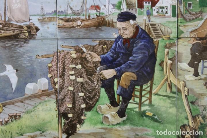 Antigüedades: Mosaico de 6 azulejos por J.C. Van Hunnik. Representado pueblo pesquero - Foto 2 - 277432448