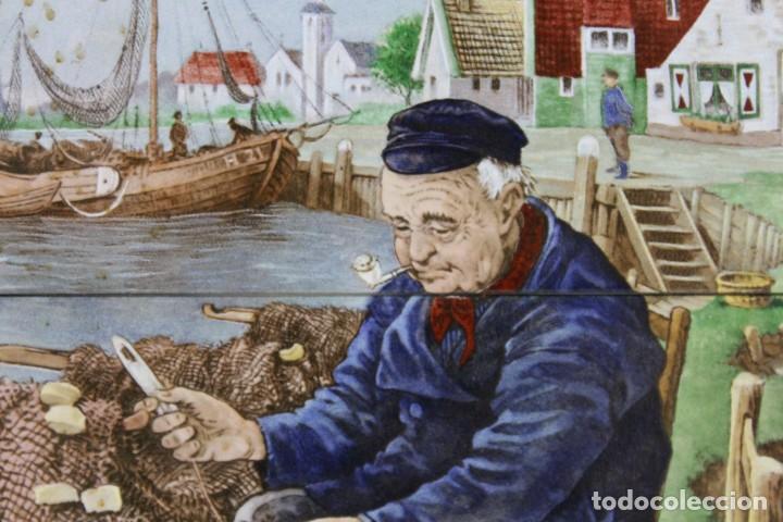 Antigüedades: Mosaico de 6 azulejos por J.C. Van Hunnik. Representado pueblo pesquero - Foto 3 - 277432448