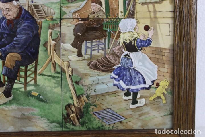 Antigüedades: Mosaico de 6 azulejos por J.C. Van Hunnik. Representado pueblo pesquero - Foto 4 - 277432448