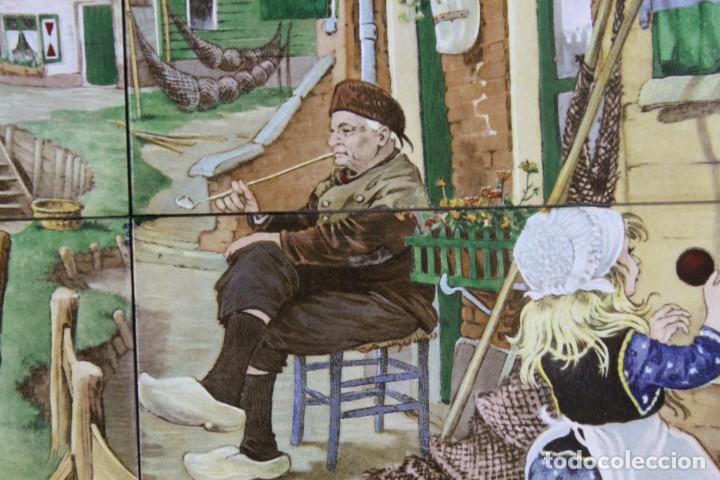 Antigüedades: Mosaico de 6 azulejos por J.C. Van Hunnik. Representado pueblo pesquero - Foto 5 - 277432448