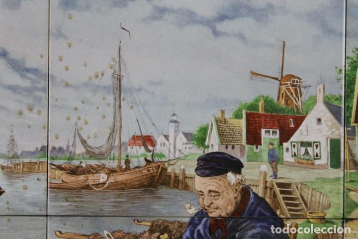 Antigüedades: Mosaico de 6 azulejos por J.C. Van Hunnik. Representado pueblo pesquero - Foto 7 - 277432448