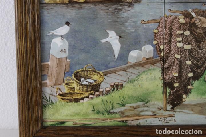 Antigüedades: Mosaico de 6 azulejos por J.C. Van Hunnik. Representado pueblo pesquero - Foto 9 - 277432448
