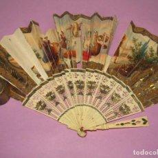 Antigüedades: ANTIGUO ABANICO ISABELINO EN HUESO TALLADO O MARFIL. Lote 277446628