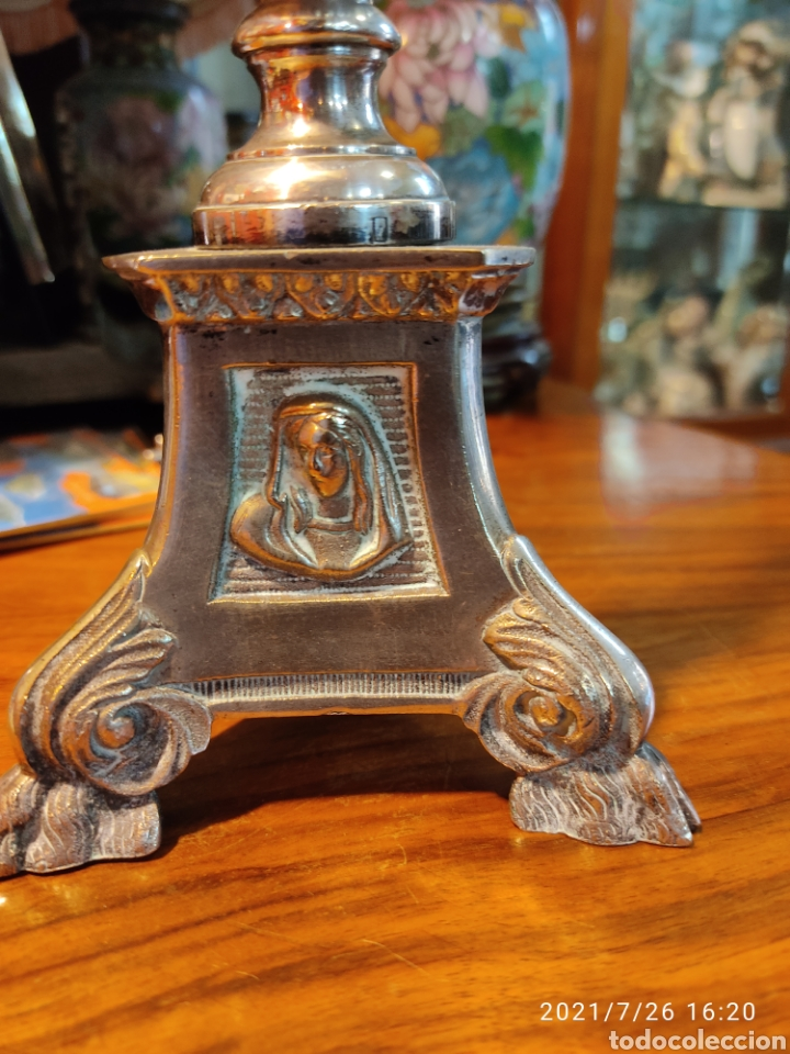 Antigüedades: Crucifijo de altar de bronce siglo XIX - Foto 6 - 206433147